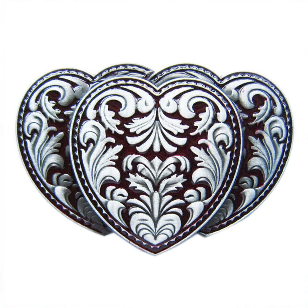 Triple Hearts III Metal Belt Buckle Heart Western Cowboy Saloon