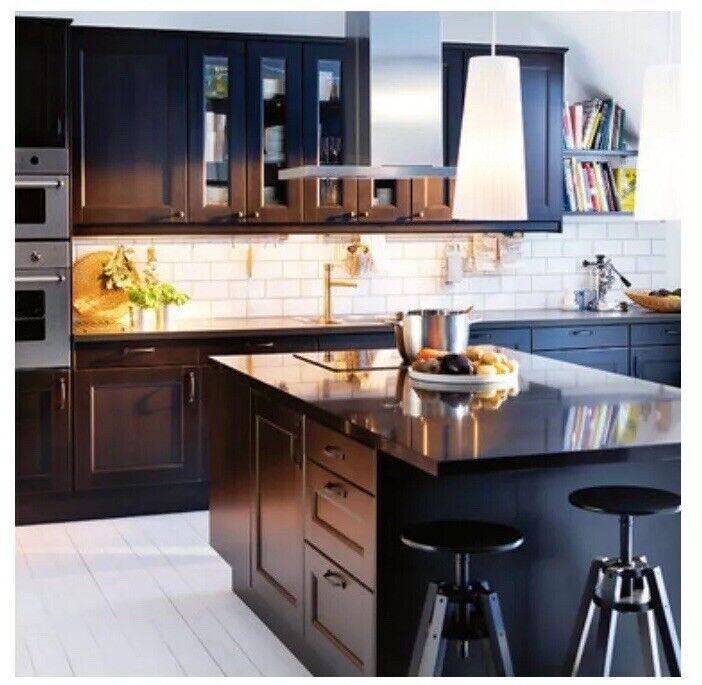 Ikea Kitchen Doors 2 Ramsjo Black 18 X 30 Glass Kitchen Cabinet