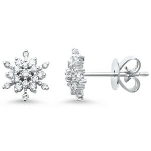 Details About 24ct F Si 14kt White Gold Snowflake Diamond Stud Earrings