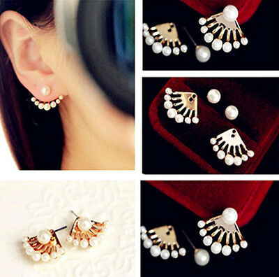 Fashion Women Crystal Earrings Pearl Ear Stud Front and back Earbob JW036