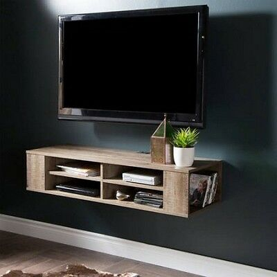 Wall Mounted Media Console TV Stand Entertainment Center Floating Cabinet  Oak | eBay