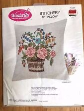 One Choice of 2 Designs Vintage WonderArt Stitchery 12 Pillow Complete Kits  Sunny Tulip Square or Boho Aztec !00/% Wool Yarn on Rayon