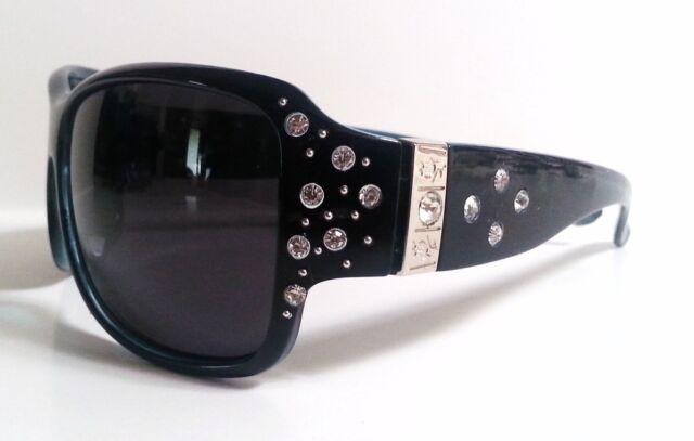 Large Polarized Womens Sunglasses Bling with Rhinestones Wrap