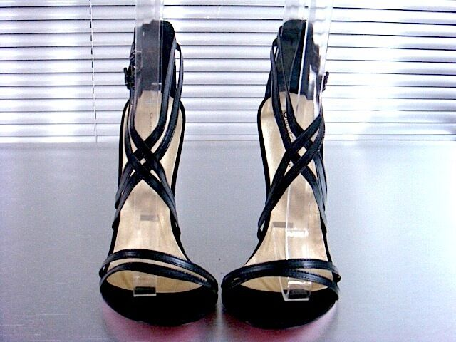 MORI MADE ITALY NEW HEEL SANDALS SANDALETTE SANDALI SCHUHE LEATHER BLACK NERO 40