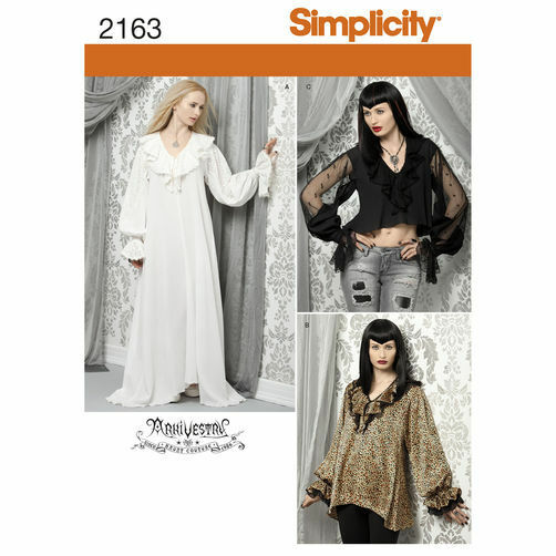 b2490a12ef Sewing Pattern Simplicity 2163 Gothic Tops Nightgown Romantic Costumes 6-12