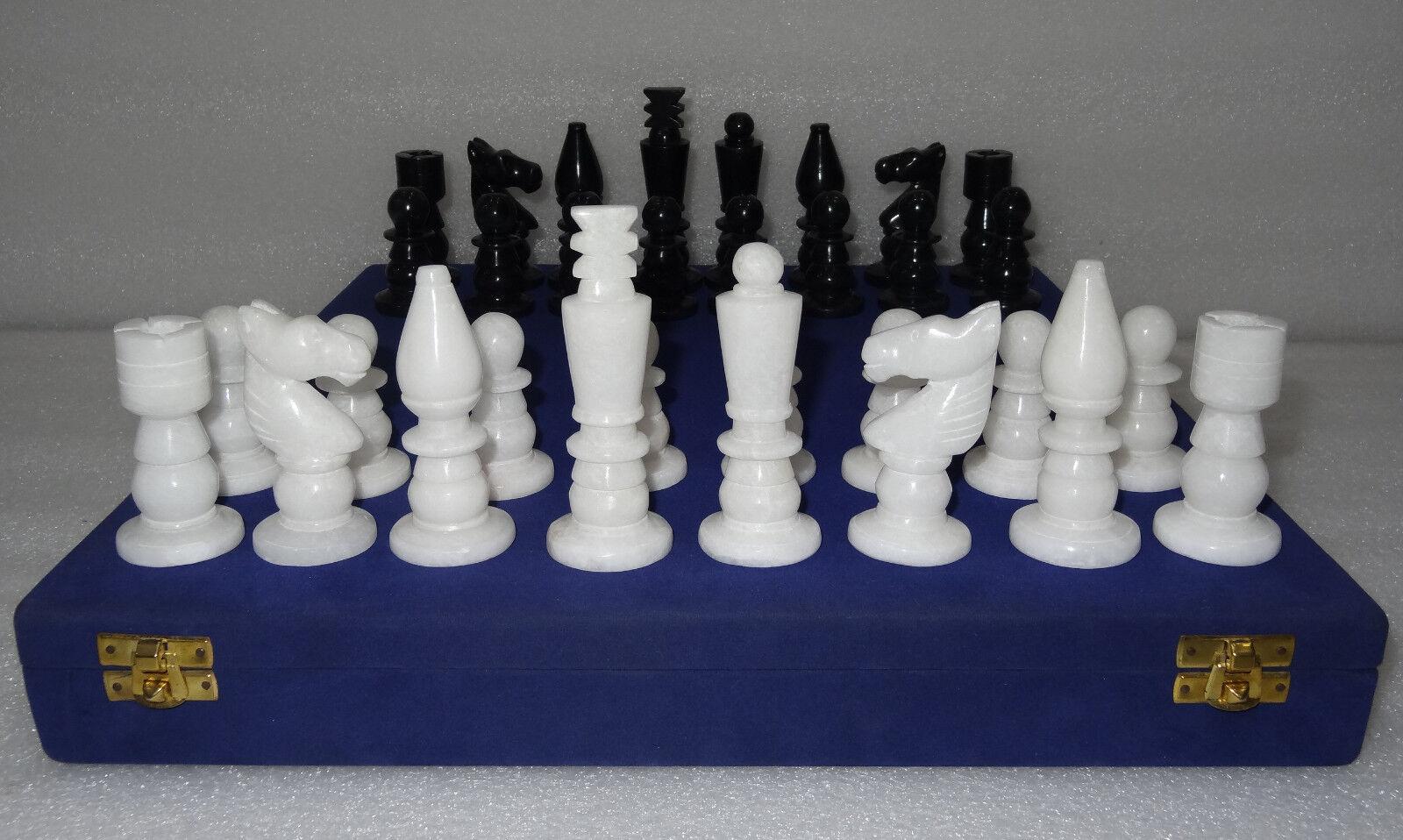 2  piezas de ajedrez negro blancoo marfil Raro Indio Mosaico De Mármol Regalo Decoración de Bellas Artes