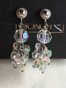 Glass Beads Non Pierced AB Dangling Earrings Vintage Dangle Earrings Vintage Jewelry Beaded Earrings Clip on Earrings Accessories
