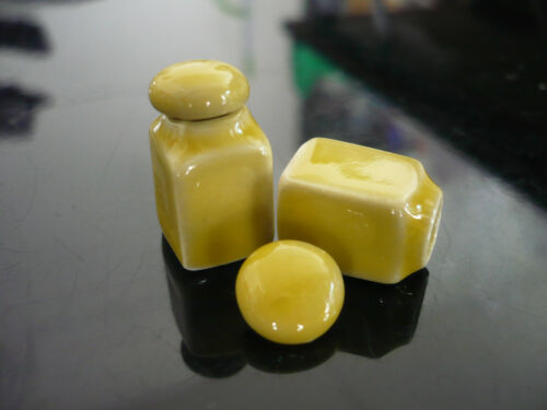 2 Yellow Square Canister//Cookie Jar with removable lid Dollhouse Miniatures
