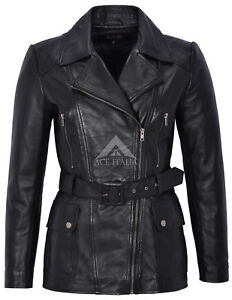 Coat Winter Ladies Mid Leather Trench Black Real Napa Fashion 222 Jacket length xw81qpC