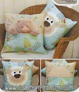 PATTERN-Bear-Buddie-sweet-applique-pocket-cushion-PATTERN-Claire-Turpin