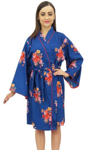 Bimba Frauen Blumendruck Royal Blue Brautjungfer Nachtwaesche Kimono Robe