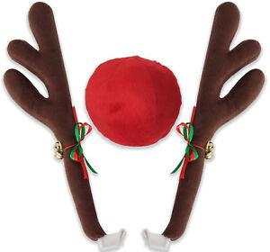 2 Reindeer Antlers Red Nose Christmas for Truck SUV Van Car Costume Window Décor