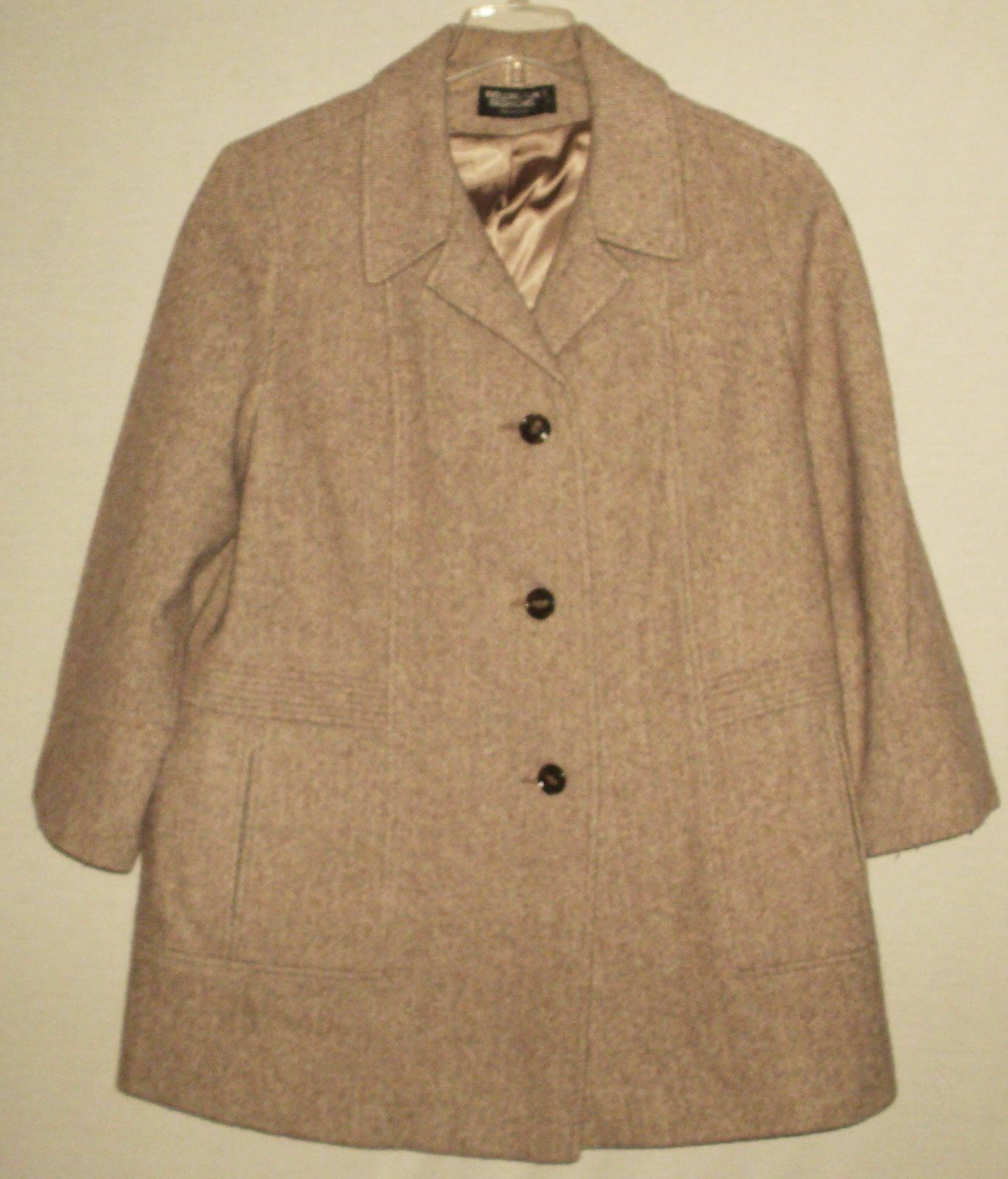 Trench Car Coat Womens Sz M Wellington Fashions Tan Herringbone Wool Blend USA