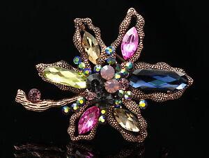 Wedding-flower-Valentine-navy-yellow-crystal-pendant-brooch-Birthday-gift-B995
