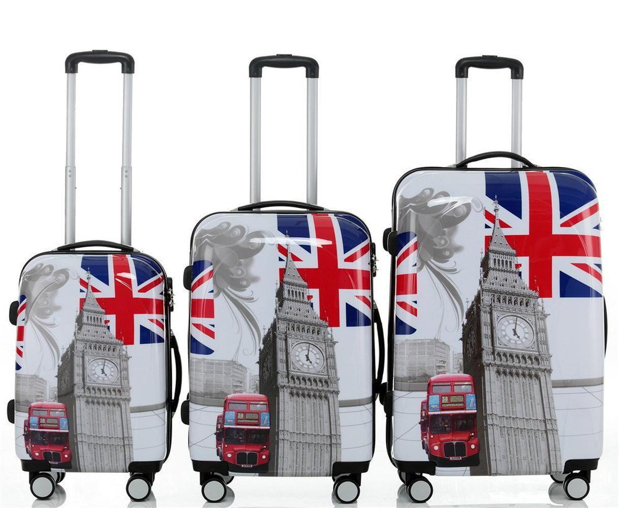 Valises trolleys à 4 roues 360° coque dure ABS polyautobonate  BB autobus de Londres