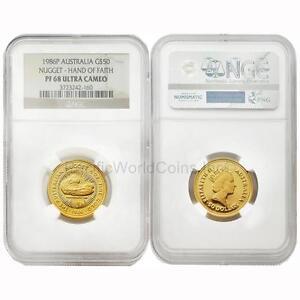 Australia-1986-Nugget-Hand-of-Faith-50-1-2-oz-Gold-NGC-PF68-ULTRA-CAMEO