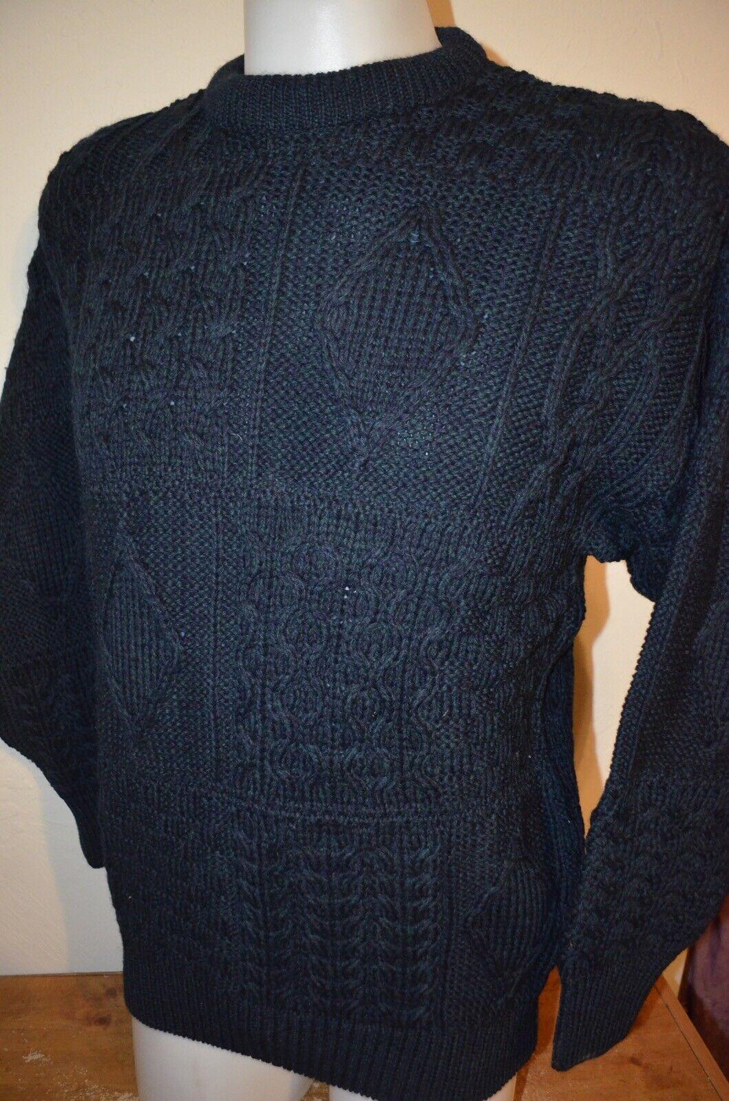 19e8e0f7291e Arancrafts Dark Green Cable Heavy Knit Fisherman Crew Ireland Wool M Sweater  NWT. CARHARTT MEN S ...