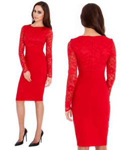 Goddess-Red-Long-Lace-Sleeve-Bengaline-Fitted-Cocktail-Party-Evening-Dress