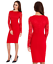 Goddess-Red-Long-Lace-Sleeve-Bengaline-Fitted-Cocktail-Party-Evening-Dress thumbnail 1
