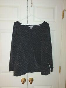 Women Jennifer Lopez Black Silver Sparkly Long Sleeve Stretch Dressy Top Size 2X