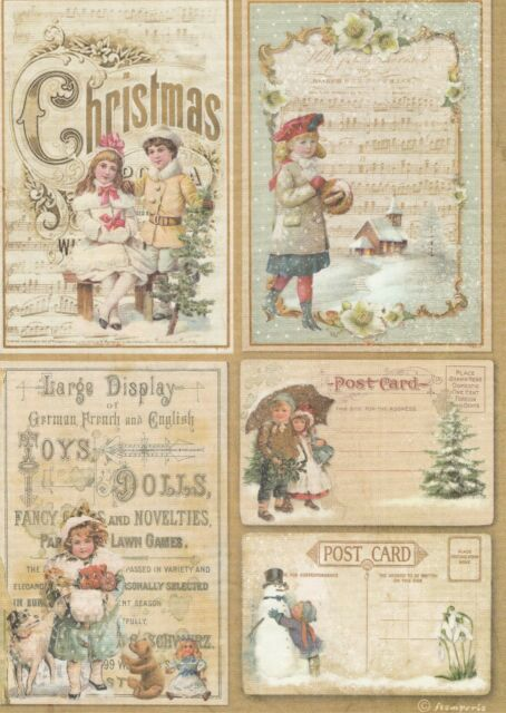 Rice Paper for Decoupage Decopatch Scrapbook Craft Sheet Vintage X-Mas Cards