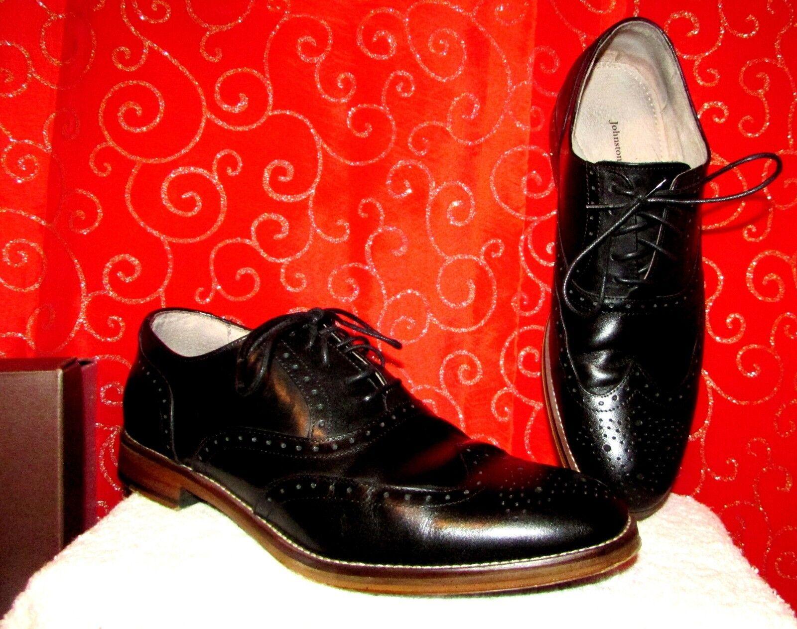 Johston & Murphy carriker Sz 9 Negro Cuero punta del ala Formales de Vestir Zapatos 59-1987