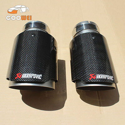 2 PCS Akrapovic Glossy Carbon Fiber Exhaust tip 63-89mm Universal Blue End pipe