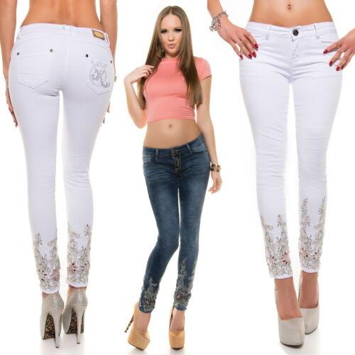 Women/'s Flower Appliqué Stretch Denim Skinny Jeans XS//S//M//L//XL