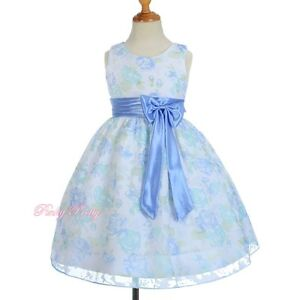 Blue-Floral-Empire-Dress-Flower-Girl-Spring-Summer-Party-Holiday-Age-4-Yrs-SD013