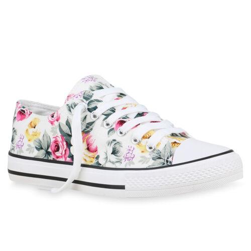 Damen Sneaker Low Blumen Turnschuhe Schnürer Freizeit Schuhe 896253 Hot