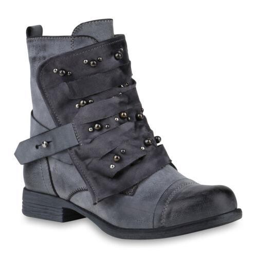 Damen Stiefeletten Biker Boots Stiefel Modische 818486 Schuhe
