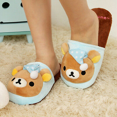 Ladies Soft Cute Blue Pajama Rilakkuma Bear Indoor Slippers Warm Animal Sheos