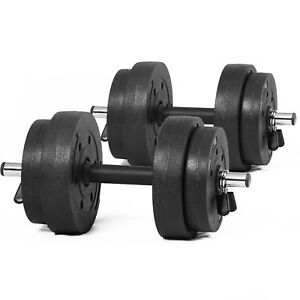 Image Is Loading Dumbbells Set Free Weights Vinyl Plates Bicep Fitness