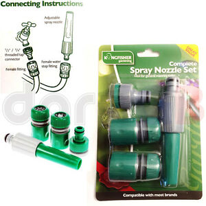 Kingfisher Complete Garden Hosepipe Compatable Spray Nozzle Connector Set