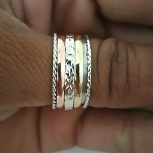 Spinner-Ring-925-Sterling-Silver-Wide-Band-amp-Brass-Ring-Handmade-All-Size-P-12