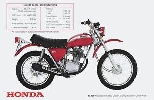 Image Is Loading 1970 HONDA SL100 VINTAGE MOTORCYCLE AD POSTER PRINT