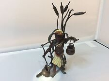 RARE BERGMAN STYLE VIENNA COLD PAINTED BRONZE OF AN AFRICAN LADY, C1900 - 1940's