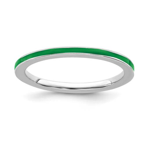 925 Sterling Argent rhodium plaqué VERT EMAILLE 1.5 mm empilable RING Sz 5-10