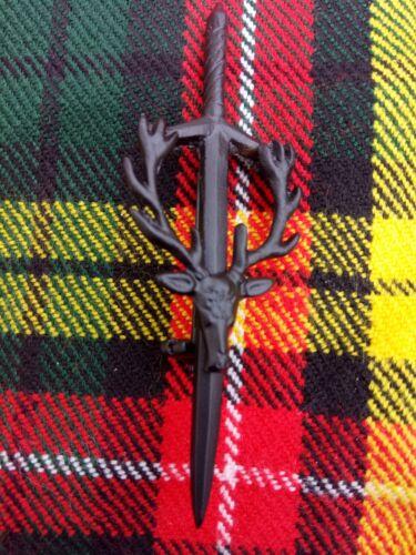 Scottish Stag Head Matt Black Finish Sword Kilt Pin Made Of Brass//Kilt Pin