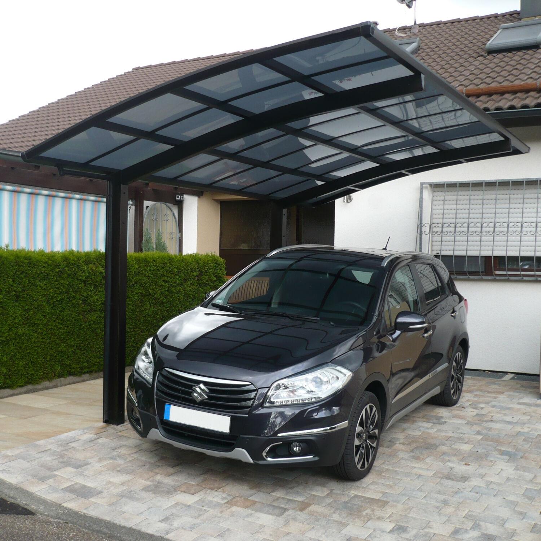 Aluminium Einzelcarport Unterstand Carport Bogendach Mattbraun 4950 x 2700 mm