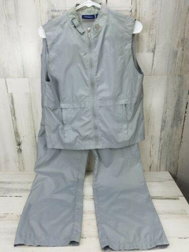 Vintage 80's Catalina Gray Nylon Track Suit Womens