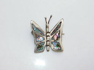 vintage sterling silver abalone  butterfly Mexican  pin brooch free shipping USA