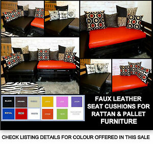 8a2c06710825 Image is loading PVC-FAUX-LEATHER-SEAT-CUSHION-FOR-PALLET-RATTAN-