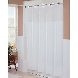 Hookless HBH49MYS01SL74 Illusion Shower Curtain With Snap In Liner