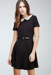 Details About Forever 21 Black White Crocheted Peter Pan Collar Wednesday Addams Dress S