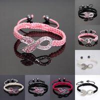 Shamballa Crystal Pink Ribbon Breast Cancer Awareness Bracelet Gift Jewellery