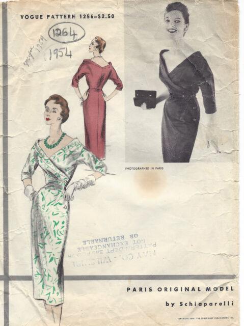 1954 Vintage VOGUE Sewing Pattern DRESS B30 (1264) By Schiaparelli