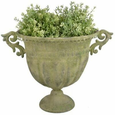 Aged Metal Green Urn Planter Plant Pot Grow Your Own Garden Outdoor Garden 46cm
