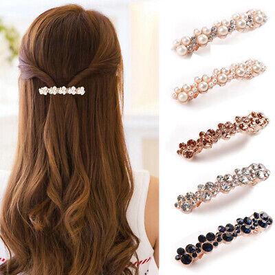 Details about  /Fashion Rhinestone Diamante Crystal Hairpin Barrette Pearl Hair Clip Clamp Grips