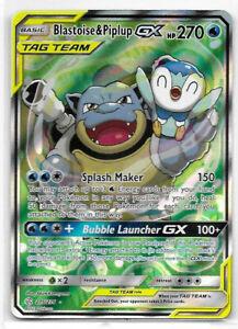 215//236 Blastoise /& Piplup GX Pokemon SM Cosmic Eclipse Full Art